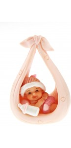 Bébé rose dans une balancelle 6x9 cm