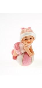 Bébé rose sur ballon 3,5 x 5,5 cm