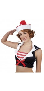 Béret de marin navy bicolore rouge et blanc pour femme taille unique