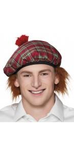 Béret écossais Tartan rouge avec cheveux