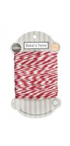 Bobine de ficelle Baker Twine bicolore rouge/blanc 18 m