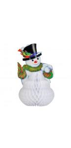 Bonhomme de neige en papier alvéolé blanc GM 38 cm