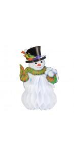 Bonhomme de neige en papier alvéolé blanc PM 15 cm