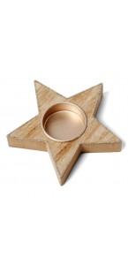 Bougeoir étoile bois cérusé cuivre pailleté