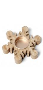 Bougeoir flocon bois cérusé cuivre pailleté