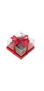 Bougeoir rouge décoré avec bougie