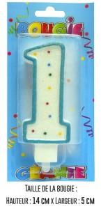 Bougie géante bleue Chiffre 1