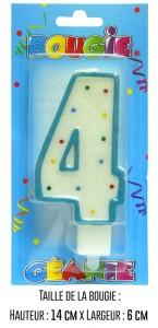 Bougie géante bleue Chiffre 4