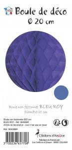 Boule alvéolée ballon bleu royal 20 cm