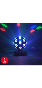 Boule disco rotative 3 leds multicolores