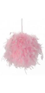 Boule plumes roses à suspendre D 20 cm
