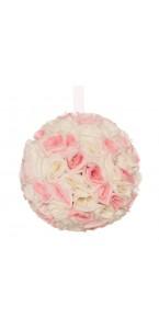 Boules de roses rose/blanc à suspendre 23 cm