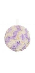 Boules de roses violet/blanc à suspendre 23 cm