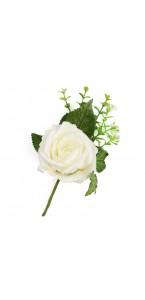Boutonnière rose blanche 16 cm