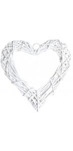 Cœur en osier vide blanc 25 cm