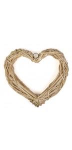 Cœur en osier vide naturel 30 cm
