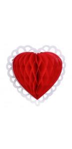 Cœur en papier alvéolé rouge 19 ,5 cm