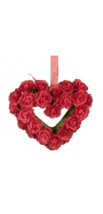 Cœur en roses rouges polyester 13 x 10 cm