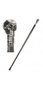 Canne noire et tête de mort Halloween 93 cm