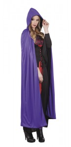 Cape de vampire avec capuche reversible violet