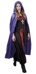 Cape de vampire en velours violet avec capuche Halloween adulte 170 cm