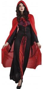 Cape de vampire rouge avec capuche Halloween adulte 180 cm
