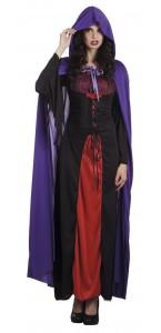 Cape de vampire violette avec capuche Halloween adulte 180 cm