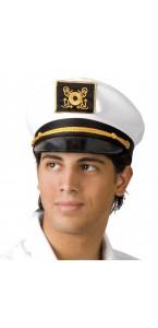 Casquette de capitaine blanche avec visière bleue