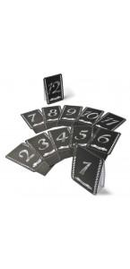 Ce lot de 12 Marque-table noir imprimé blanc 11 x 17 cm