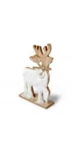 Cerf en bois fourrure blanche 14,5 x 24,5 cm