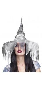 Chapeau de sorcière Zolla avec voile déchiré Halloween