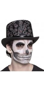 Chapeau haut de forme squelette Halloween