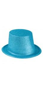 Chapeau haut de forme turquoise pailleté