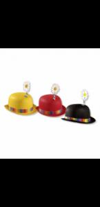 Chapeau melon avec fleur pour clown