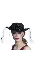 Chapeau noir avec voilette Halloween