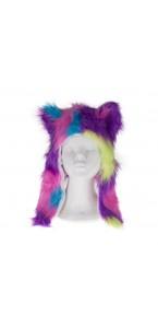 Chapeau pelucheux multicolore