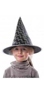 Chapeau sorcière luxe satin hologramme enfant