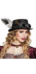 Chapeau steampunk avec plume