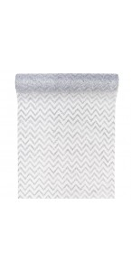 Chemin de table chevron organza blanc/argent  28cm  x 5 m