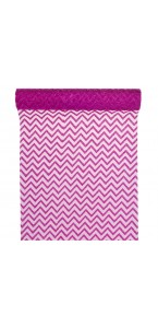 Chemin de table chevron organza fuschia 28cm  x 5 m