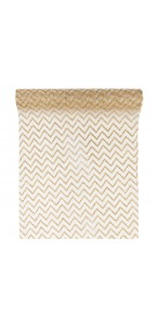 Chemin de table chevron organza ivoire/or 28cm  x 5 m