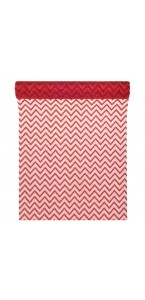 Chemin de table chevron organza rouge 28cm  x 5 m