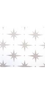 Chemin de table étoile blanc/argent 28 cm x 5 m