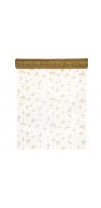 Chemin de table étoiles dorées organza 30 cm x 5 m