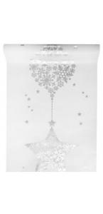 Chemin de table flocon blanc  30 cm x 5 m