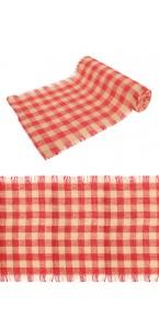 Chemin de table Jute vichy rouge/blanc  29 cm x  5 m