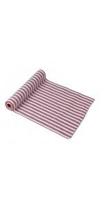 Chemin de table lin rayé rouge et blanc 28 cm x 5 m