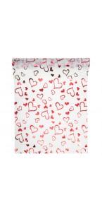 Chemin de table satin blanc cœurs rouges 28 cm x 5 m