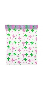Chemin de table transparent papillons roses et verts28 cm x 5 m