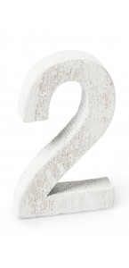 Chiffre 2 en bois blanc 5 cm